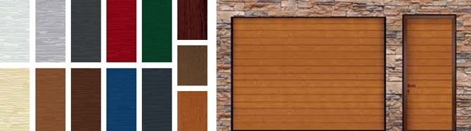 Baloldalon különböző színű minták , jobb oldalon Alutech TREND garázskapu barna színben