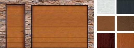 Baloldalon M–Bordás Alutech TREND garázskapu, jobb oldalon minták